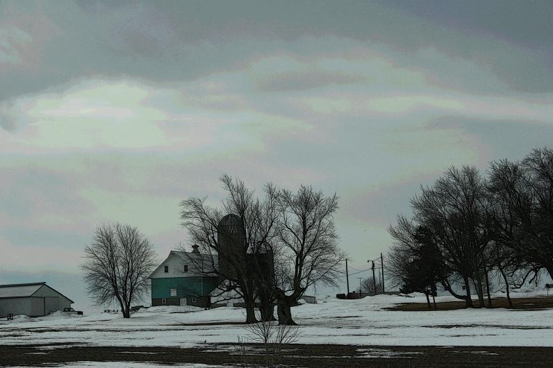 Rural Minnesota, turquoise barn