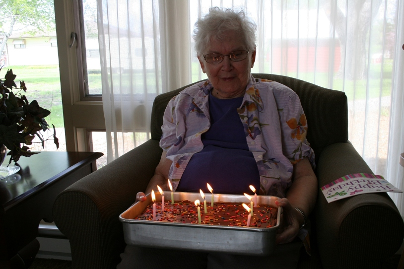 My mom celebrates her birthday with family at Parkview Home in Belview, Minnesota.