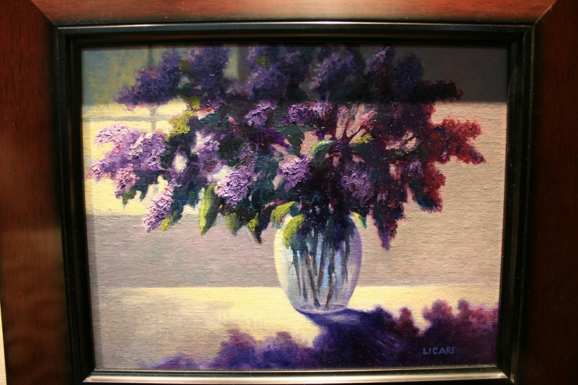 """Jeanne Licari's absolutely stunning interpretation of my poem. Her """"Lilacs on the Table"""" is oil on mounted linen."""
