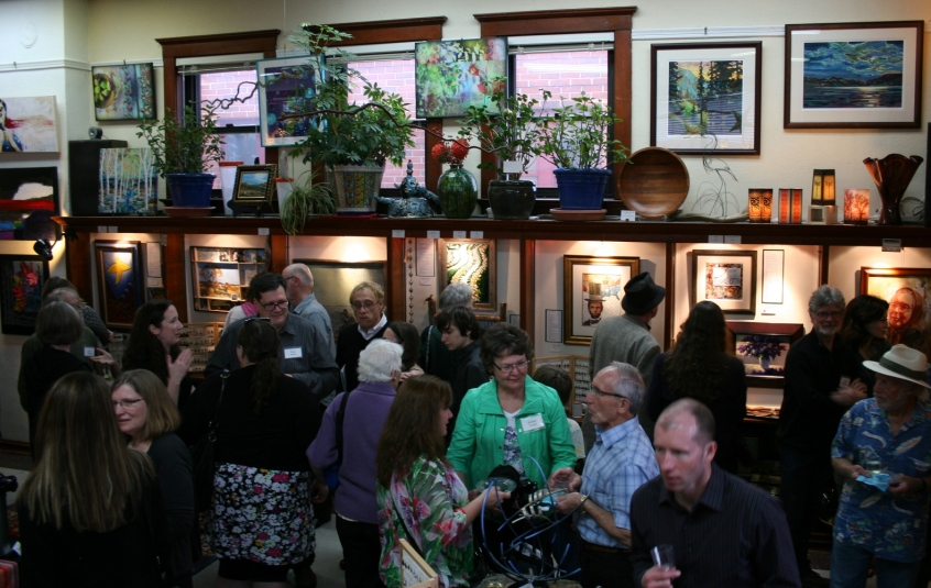 It was shoulder to shoulder people at the poet and artist reception.