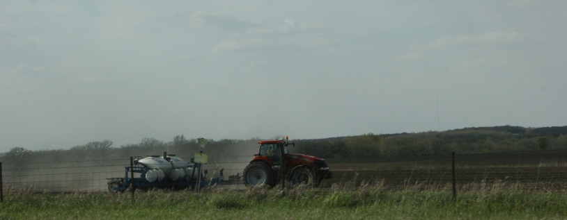 Working the land somewhere along Interstate 90 in southeastern Minnesota.