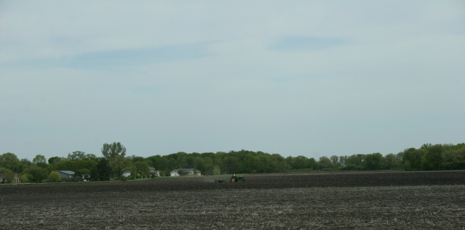 Field work, John Deere in field west of New Ulm