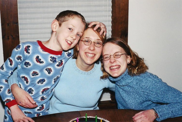 I love this crazy, loving photo of my three kids, taken in February 2003.