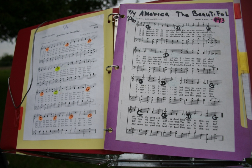 Musicians' song sheets.