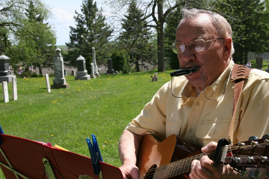 Musician Don Chester leads the musical selections along with his wife, Judy.