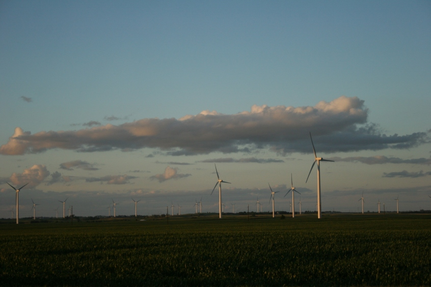 Wind turbines in extreme southwestern Minnesota. Minnesota Prairie Roots file photo, July 2013.