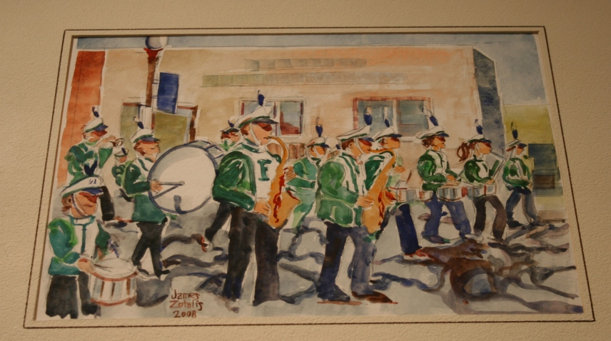 I expect this original watercolor of the Faribault High School marching band may interest a Faribault native.