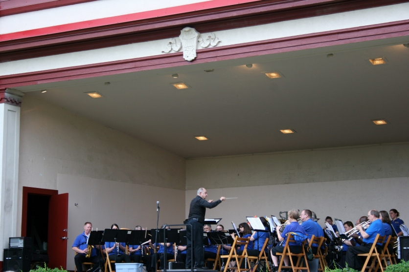 The Minnesota State Band plays in the Central Park Bandshell in Faribault.