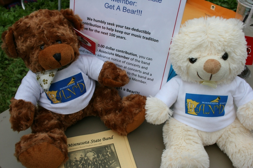 For a $20 donation to support the band, concert goers received a teddy bear.