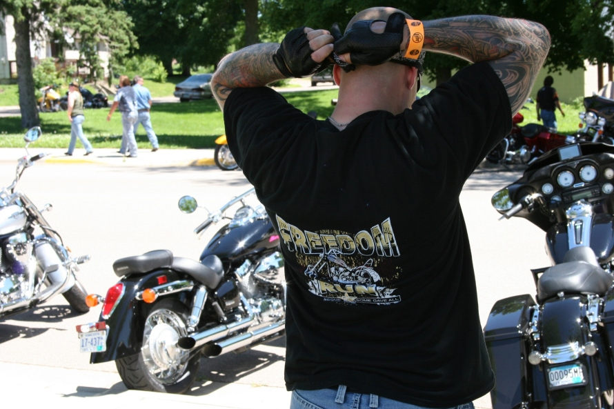 One of the hundreds of bikers.