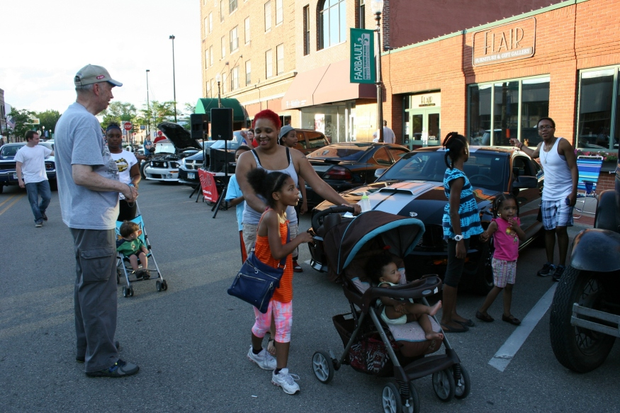 All ages participate in and enjoy the car show.