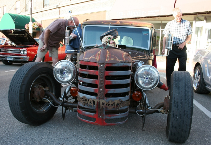 From the back of the Rat Rod (above photo), I moved to the front, crafted from a tractor.