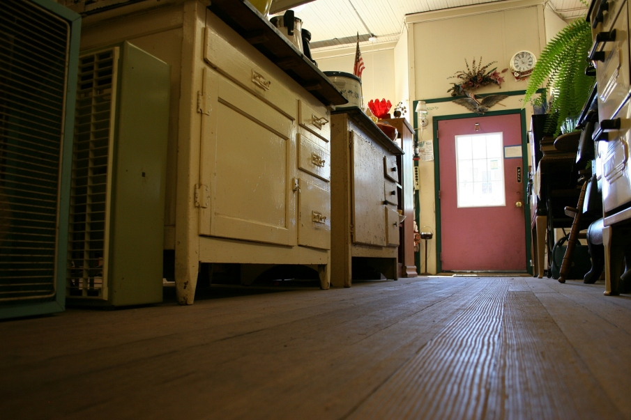 Admire the aged wood floors.