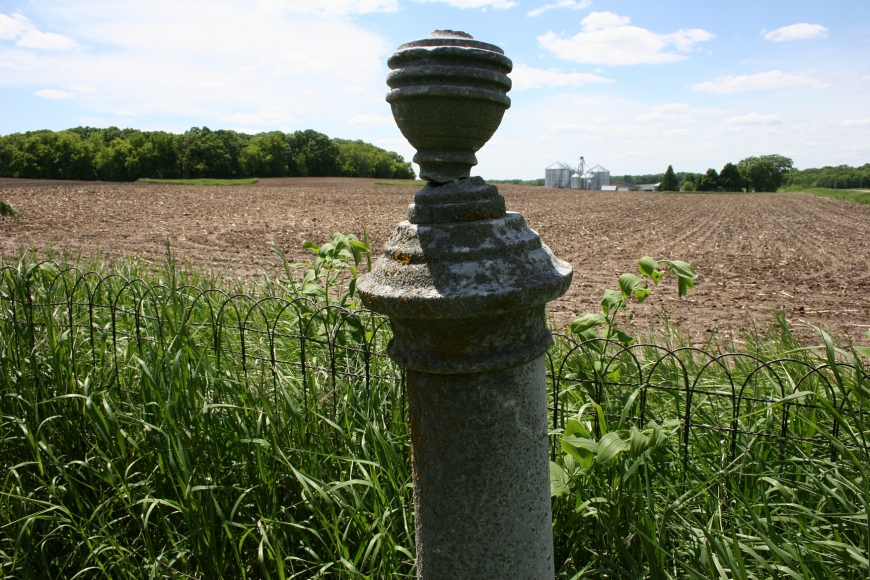 The aged Eklund Cemetery sits among farm fields in Walcott Township.