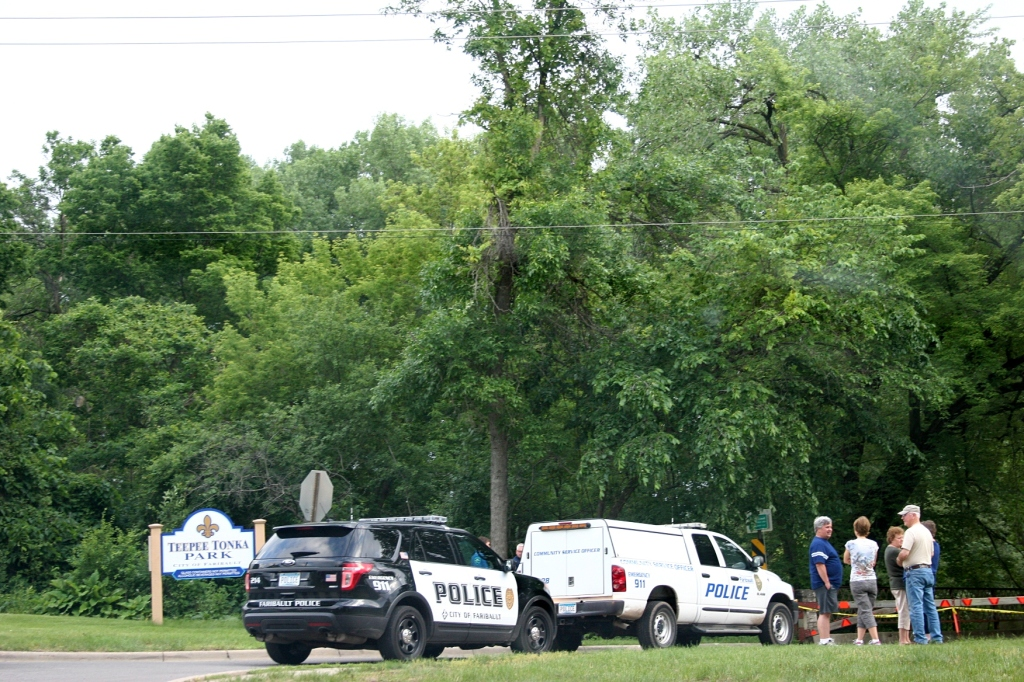 Police arrive to protect the curious public at Teepee Tonka Park.