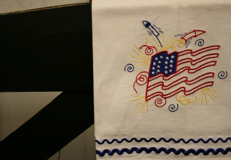 Fourth of July, embroidered flag