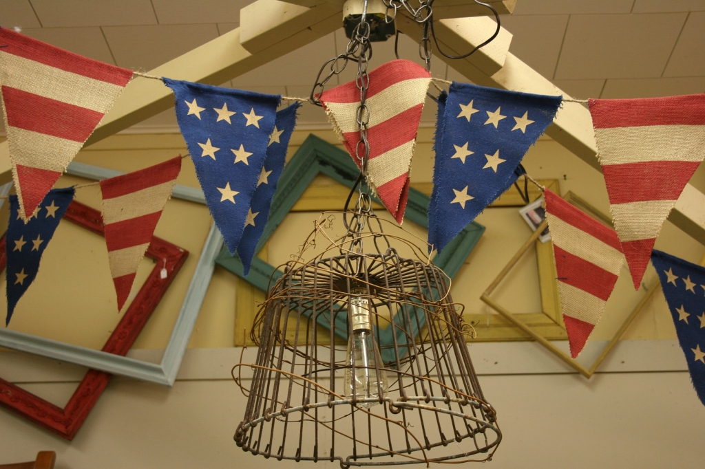 Fourth of July, light and banners