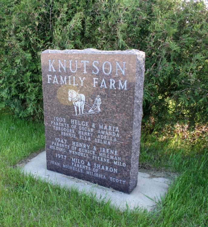Another marker notes the Knutson family farm.