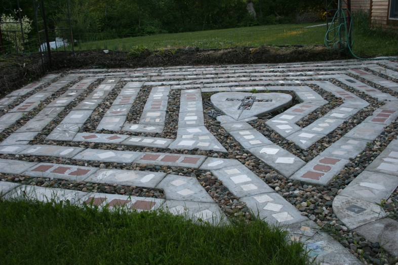 An overview of Joy's backyard labyrinth.