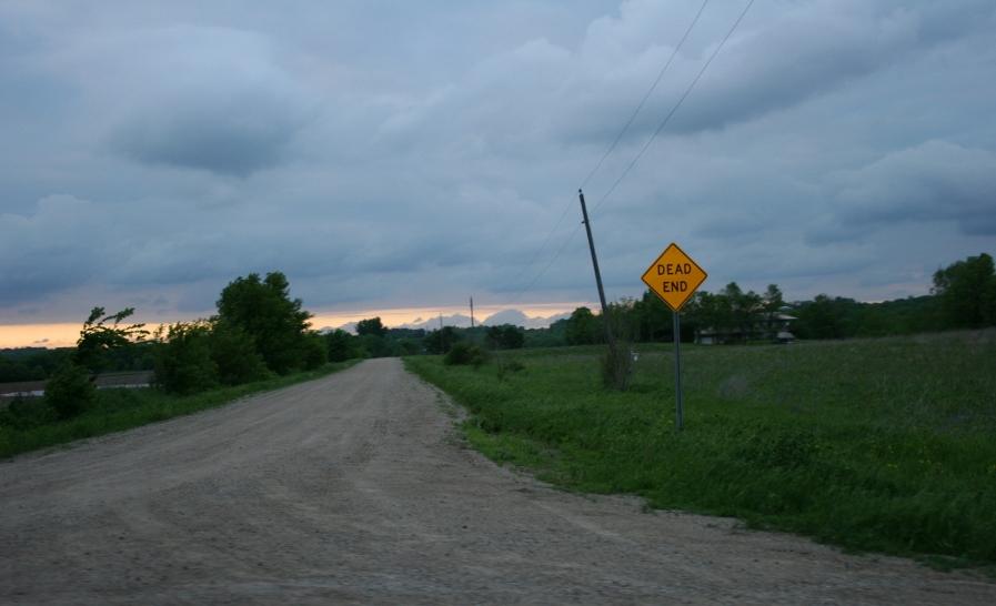 A gravel road shoots off