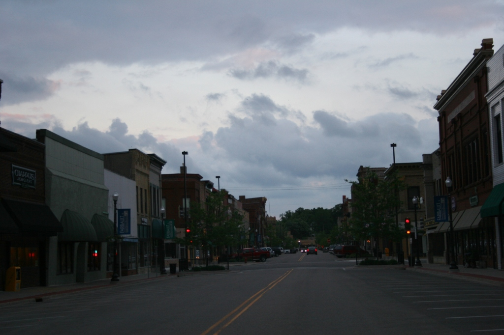 A portion of historic downtown Faribault in the fading light of day.