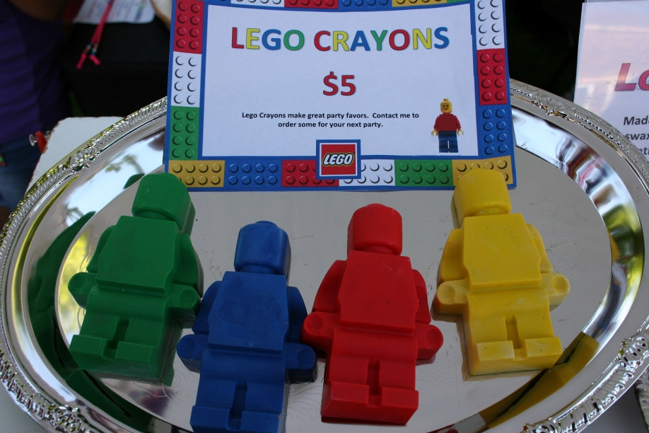 Vicki Mendez was selling her handmade LEGO crayons (available in several sizes)