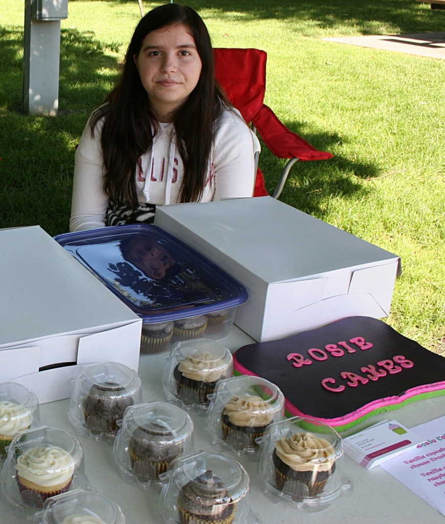 Rose Gehrke of Waterville  set up a stand to sell her homemade cupcakes.