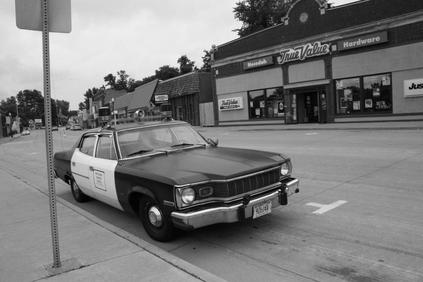 Necedah, downtown and patrol car