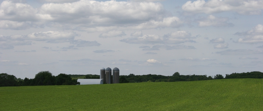 Sunday drive, barn and silos, distant