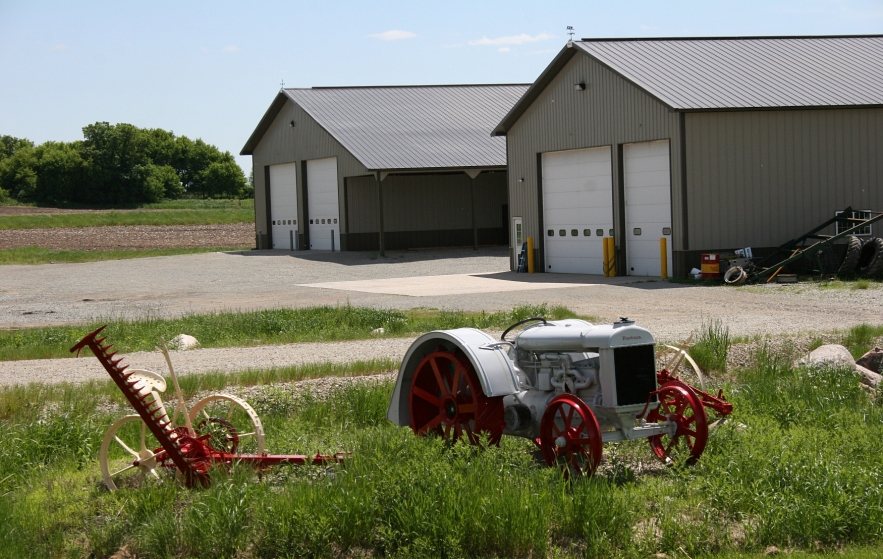 An aged Fordson parked alongside a road southeast of Faribault.