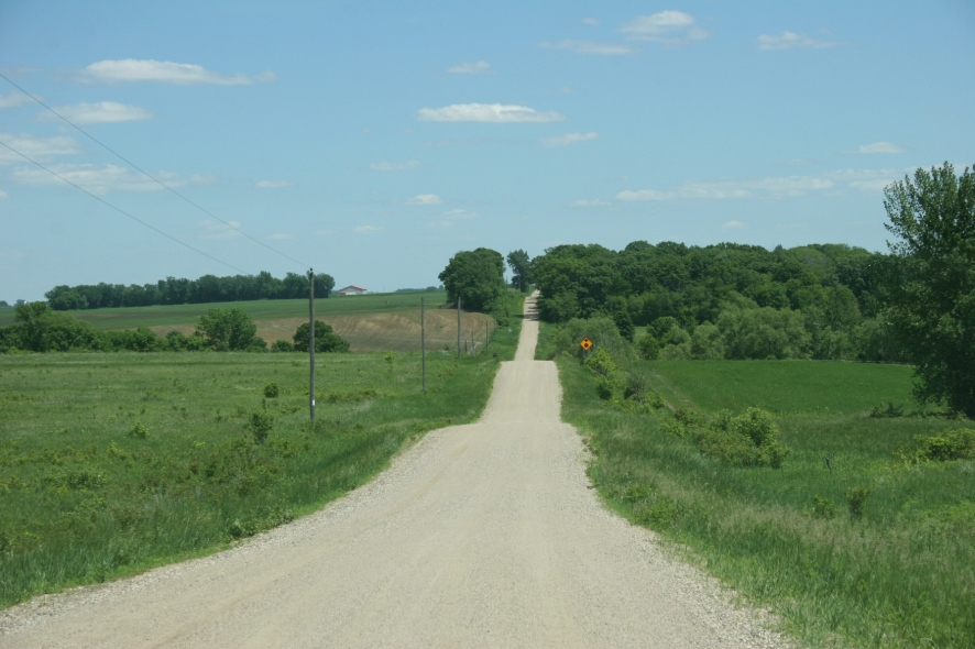 We prefer gravel roads over paved for the slower pace.