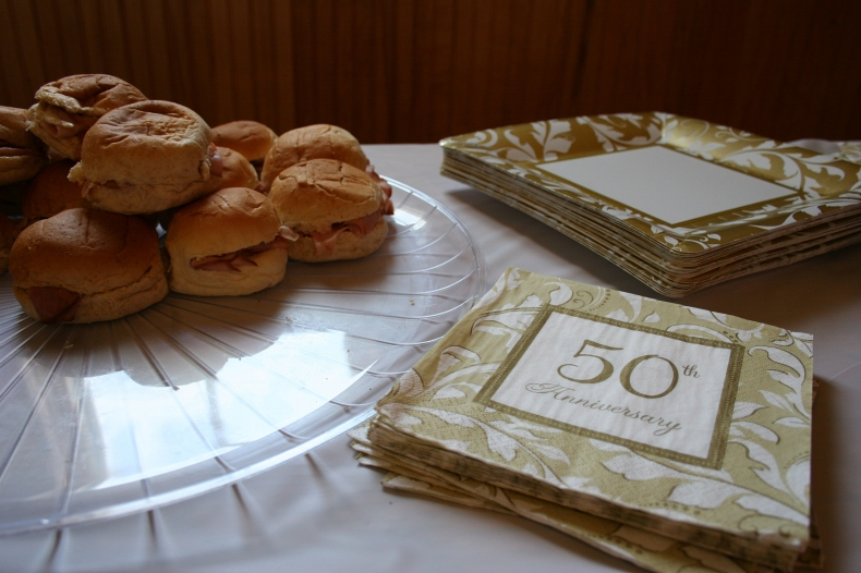A little lunch was served at the anniversary party.