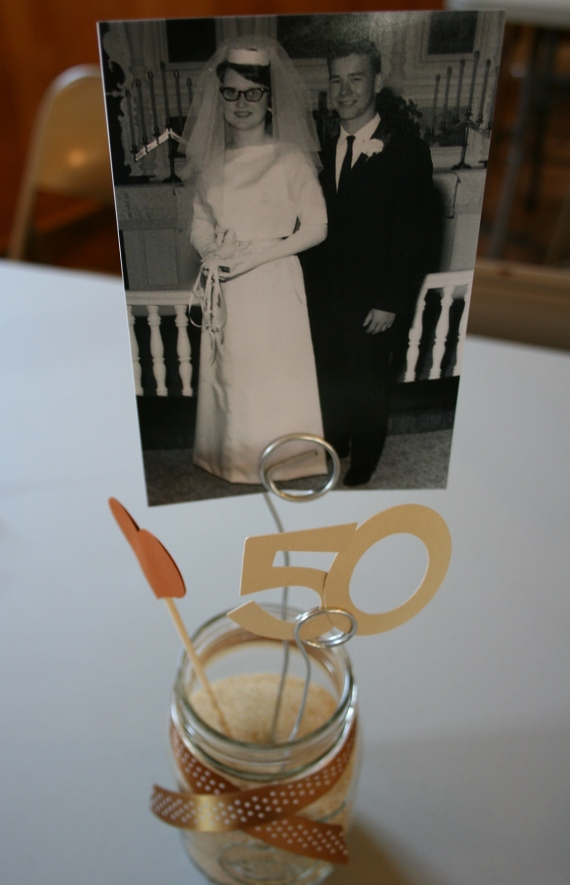 Merlin and Iylene's wedding photo served as a table decoration.