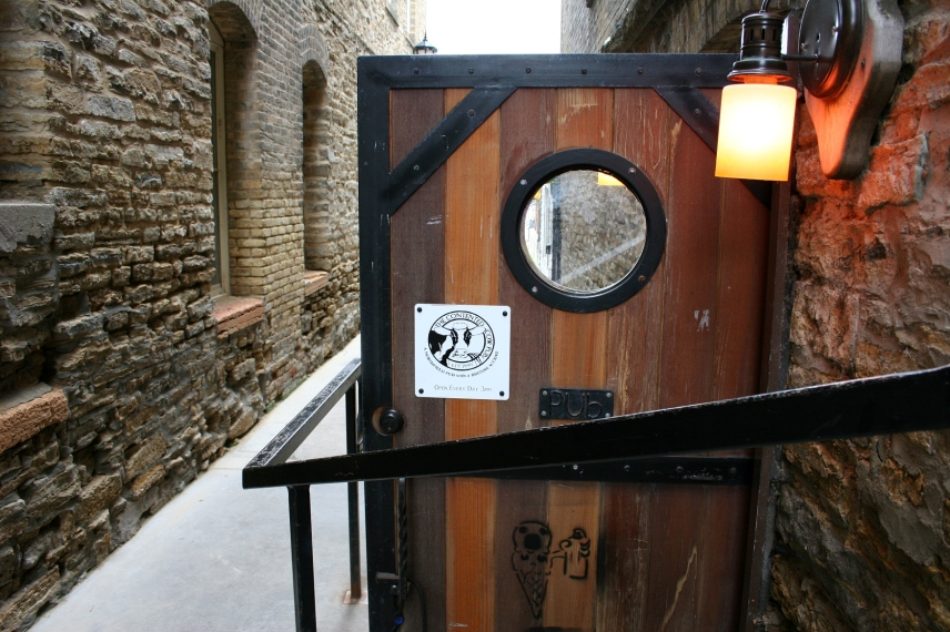 See all the art going on here in the stone, the angles, the curve of the door, etc. in the alley by The Contented Cow.