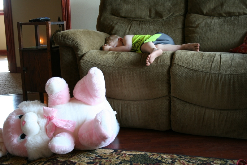 Boy sleeping, bunny on floor