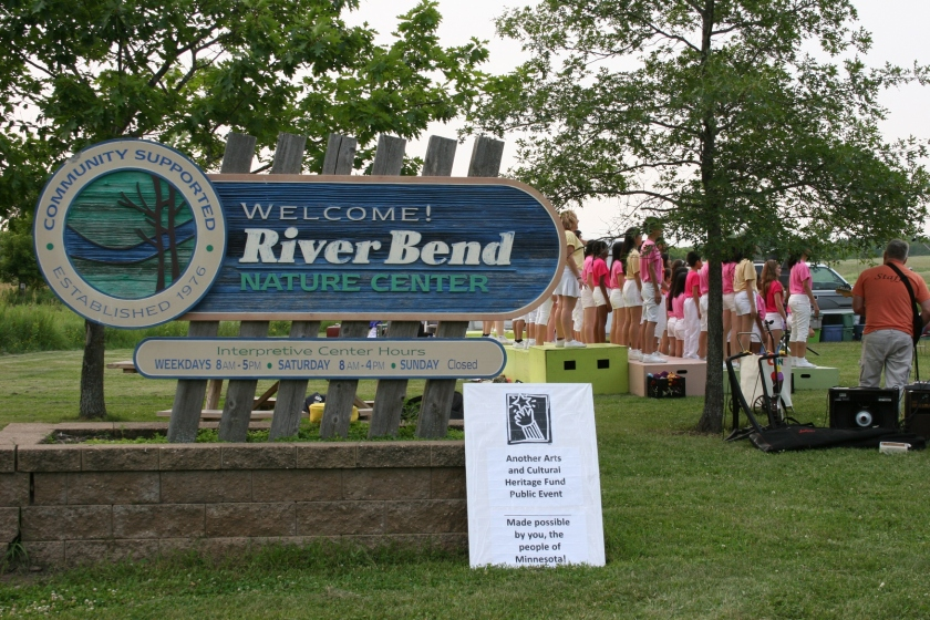 Performing outdoors at River Bend.
