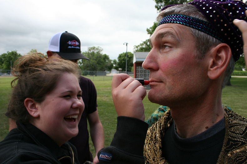 "My cousin Kirt leads his team in the first Kletscher Fear Factor competition by ""agreeing"" to a beauty make-over."