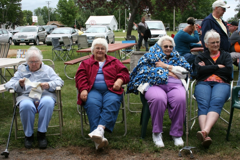 My mom, left, and several of the aunts line up to watch the afternoon games.