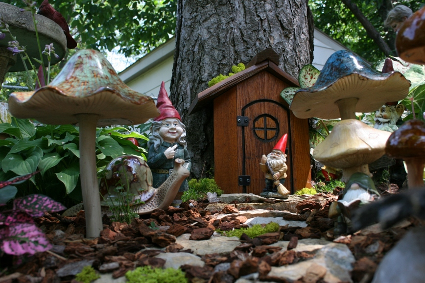 A ground level view of the gnomes' rocky woodland home.