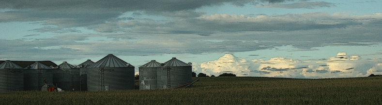 Grain bins along Minnesota State Highway 60 just off U.S. Highway 14.
