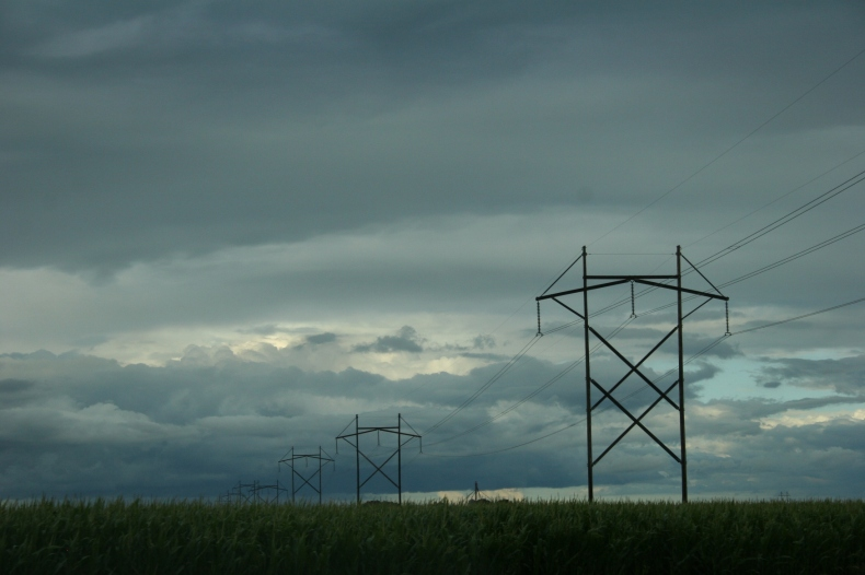 Power lines between Redwood Falls and Morgan.