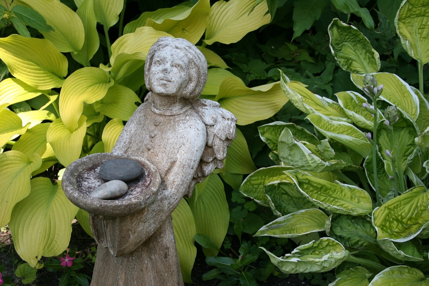 Garden art in the hosta.