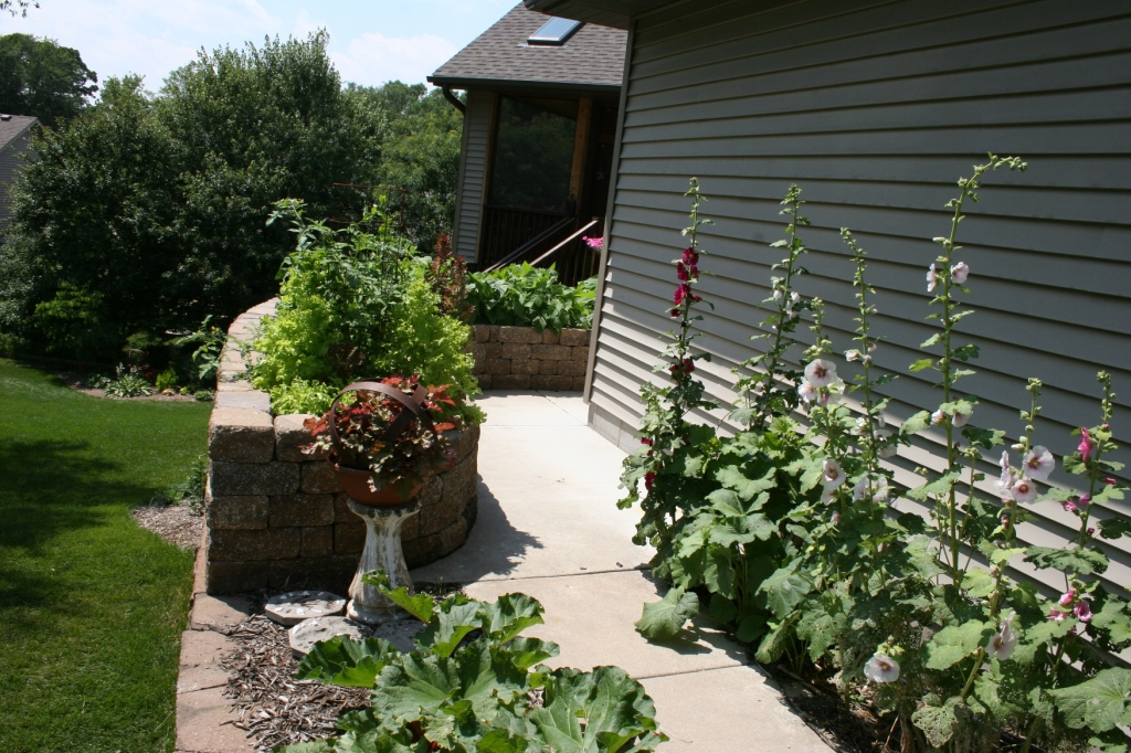 This area features a raised vegetable garden.