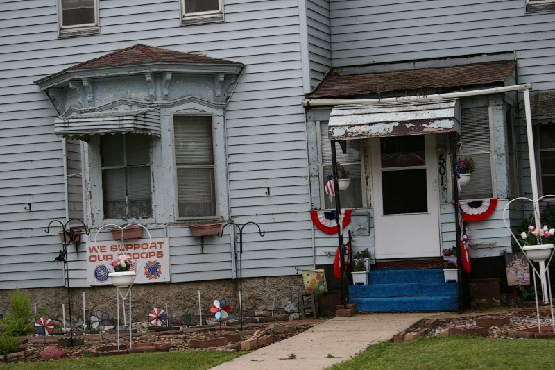 A quick snapshot of a patriotic house in Sleepy Eye, Minnesota.