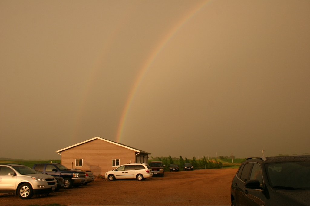 One end of the beautiful double rainbow.