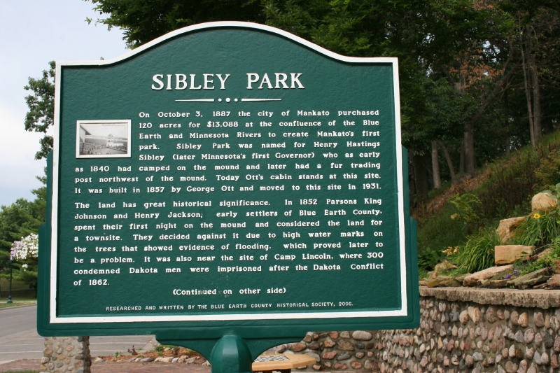 A sign explains the history of Sibley Park.