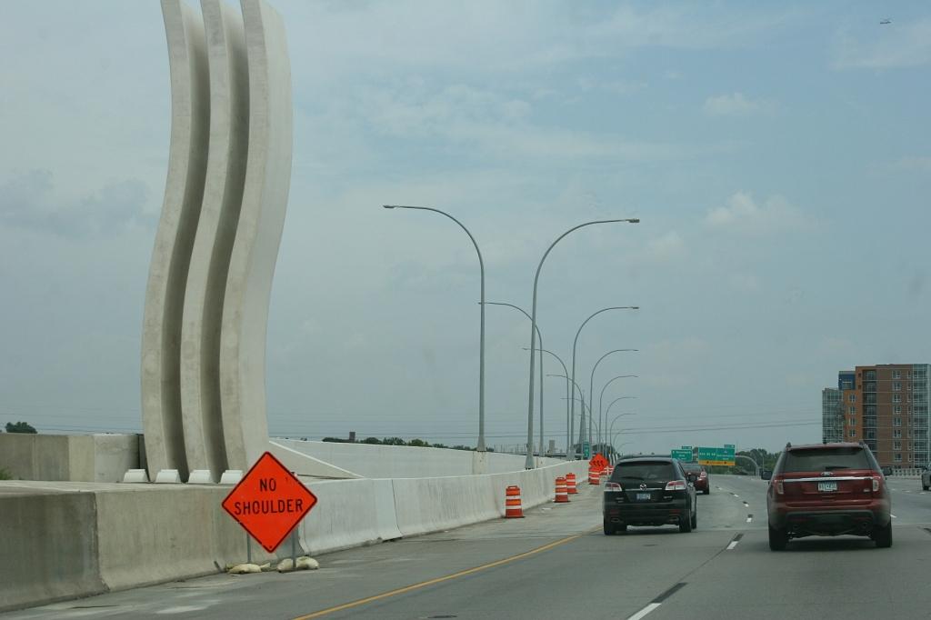 Crossing the 35W bridge near downtown Minneapolis.