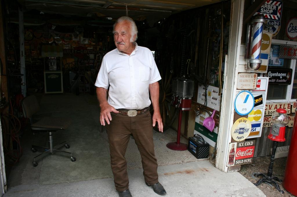 "Charles ""Bing"" Skelton just outside his garage."