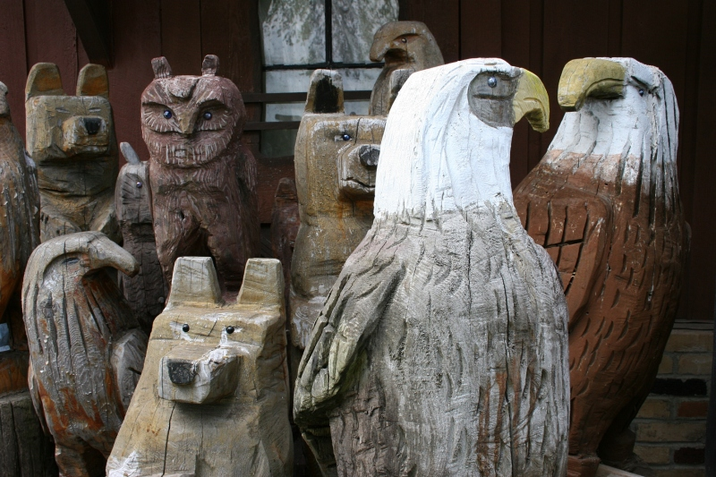 Some of the wood sculptures Bing carved.