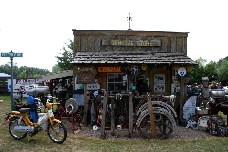 More collectibles, including horse harnesses, are clumped around the General Store.